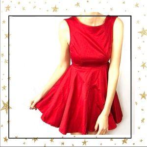 TOBI XS Red Skater Holliday Party mini dress (C5)